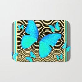 Blue Butterflies On black-yellow Grey Patterns Bath Mat