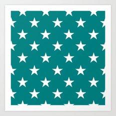 Stars (White/Teal) Art Print