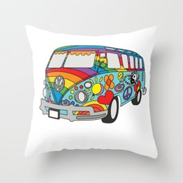 Retro Vintage Beach Bus Hippie Van Design Throw Pillow