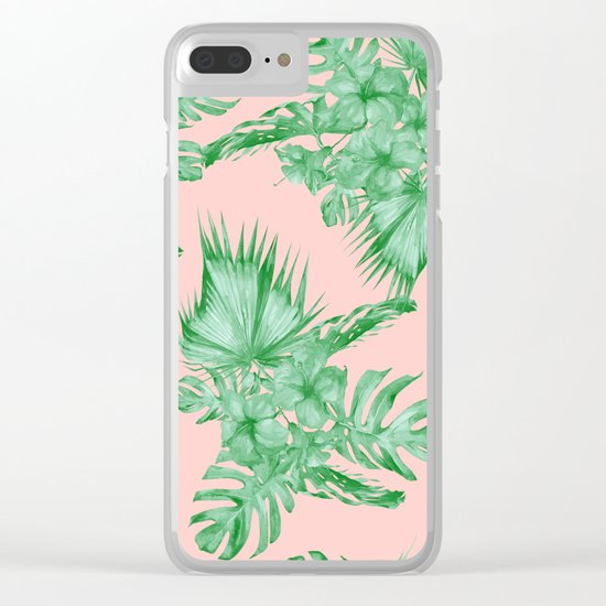 Dreaming of Hawaii Coral Pink + Green Clear iPhone Case