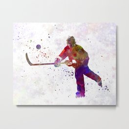Hockey man player 04 in watercolor Metal Print