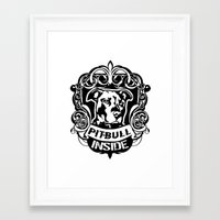 pitbull Framed Art Prints featuring pitbull inside by LGT logout graphix design
