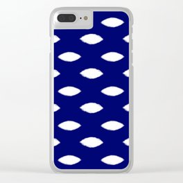 Navy and White Mesh Clear iPhone Case