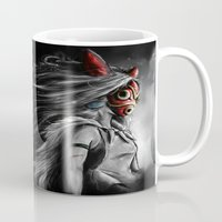 miyazaki Mugs featuring Miyazaki's Mononoke Hime Digital Painting the Wolf Princess Warrior Color Variation by Barrett Biggers