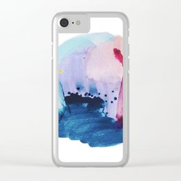 PYT: a minimal abstract mixed media piece on canvas in blues, pink, purple, and white Clear iPhone Case