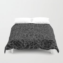 Black and white scribbled lines pattern Duvet Cover