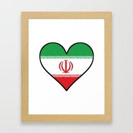Iranian Flag Heart Framed Art Print