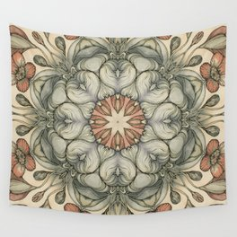 abstract flowers hand drawn and  kaleidoscope mandala Wall Tapestry