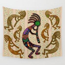 Kokopelli Rainbow Colors on Tribal Pattern  Wall Tapestry
