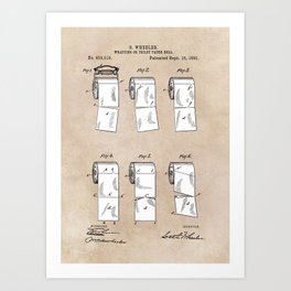 patent - Wheeler - Wrapping or Toilet paper roll - 1891 Art Print