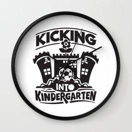 Kicking Into Kindergarten Cute Kids Illustration Wall Clock