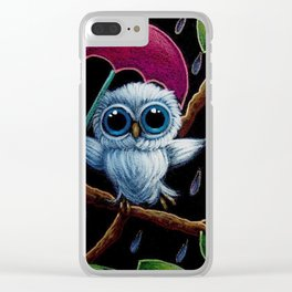 TINY BLUE OWL DANCING IN THE RAIN ILLUSTRATION Clear iPhone Case