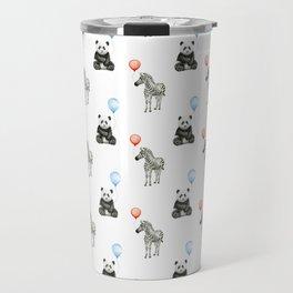 Panda and Zebra Balloons Pattern, Baby Animals Birthday Pattern Travel Mug
