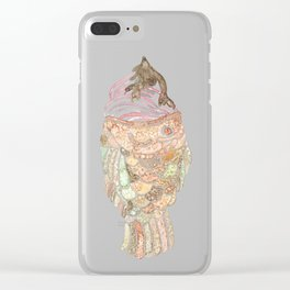 Watercolor Taiyaki Ice Cream Fish Clear iPhone Case