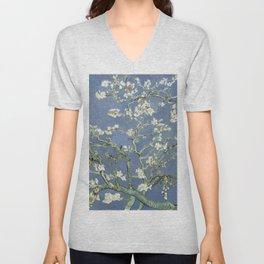 Almond Blossom - Vincent Van Gogh (blue pastel) Unisex V-Neck