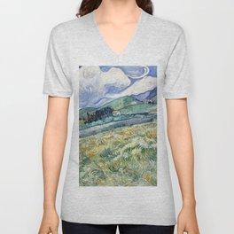 """Vincent van Gogh """"Mountainous Landscape behind Saint-Paul Hospital"""" Unisex V-Neck"""