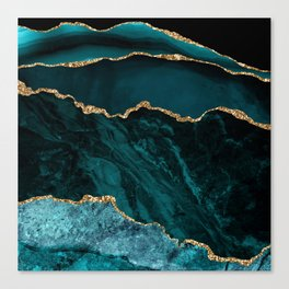 Teal Blue Emerald Marble Landscapes Canvas Print