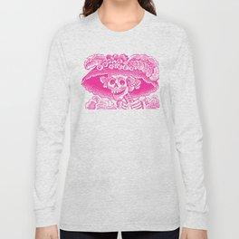 Calavera Catrina | Pink and White Long Sleeve T-shirt