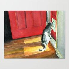 Quigley the Door Cat Canvas Print