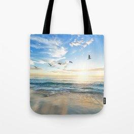Ocean Beach Waves Sunset Photo Tote Bag