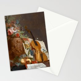Still life with flowers and a violin, 1750 Stationery Cards