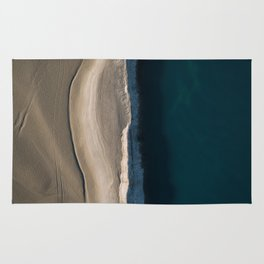 Footsteps during sunrise at a desert lake - Landscape Photography Rug