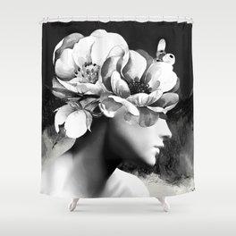 Floral Portrait-black and white Shower Curtain