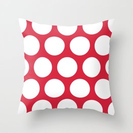 Large Polka Dots: Red Throw Pillow