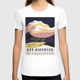 See America Montana travel ad T-shirt
