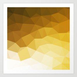 Minimalist mid century modern nordic geometric brown yellow beige ombre pattern Art Print