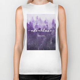 Ultra Violet Forest - And So The Adventure Begins Nature Photography Typography Biker Tank