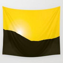 Mountain silhuette - sunrise sky - black rockymountain on yellow background - #Society6 #buyart Wall Tapestry