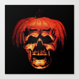 Halloween II Pumpkin Skull Stained Glass Canvas Print