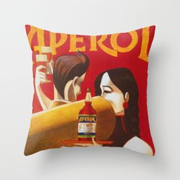 Aperol Alcohol Aperitif Spritz Vintage Advertising Poster Throw Pillow