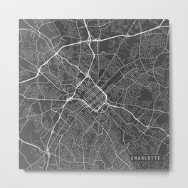 Charlotte Map, USA - Gray Metal Print