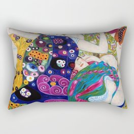 The Virgin Maidens, anemones and lilies floral portray by Gustav Klimt Rectangular Pillow