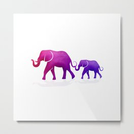 Mama and Baby Elephant Metal Print