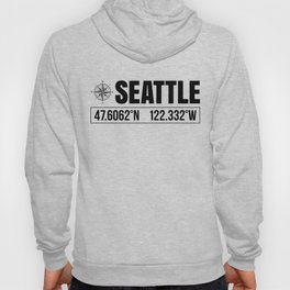 Seattle City GPS Coordinates Souvenir USA Travel Gift Idea Hoody