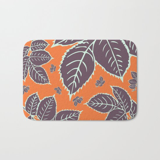 HAPPY LEAVES ON ORANGE (abstract flowers tropical) Bath Mat