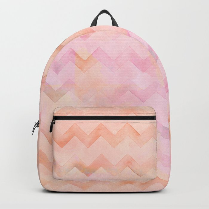 Watercolor Chevron stripes in soft pastels Backpack