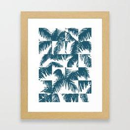 Palm Leaf Pattern Blue Framed Art Print