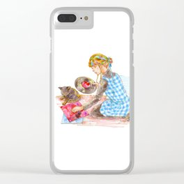 A girl with a kitten vol.2 Clear iPhone Case