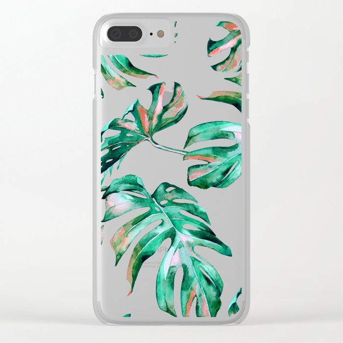 Green Coral Palm Leaves Clear iPhone Case