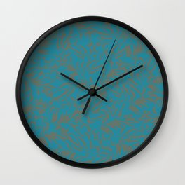 Dark grey eucalyptus leaves on peacock blue pattern Wall Clock