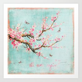 Its All Over Again - Romantic Spring Cherry Blossom Butterfly Illustration on Teal Watercolor Art Print