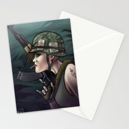 AK47 girl soldier Stationery Cards