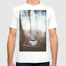 Cat in a basket MEDIUM White Mens Fitted Tee