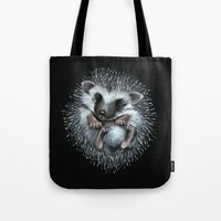 hedgehog Tote Bags featuring hedgehog by Kristina Gufo