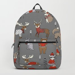 Christmas winter woodland animals foxes deer bunnies moose holiday cute design Backpack