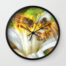 Bees and Flowering Plants Watercolor Wall Clock